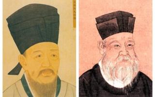 宋朝的著名理学学者程颢(左)和朱熹的画像(大纪元合成图)