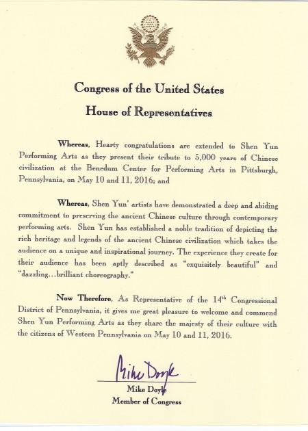 宾州联邦众议员道尔(Mike Doyle)致神韵艺术团的贺信。