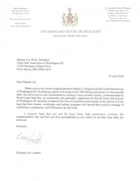 馬里蘭州眾議員埃里克‧利德基(Eric Luedtke)致信華盛頓特區法輪大法學會。