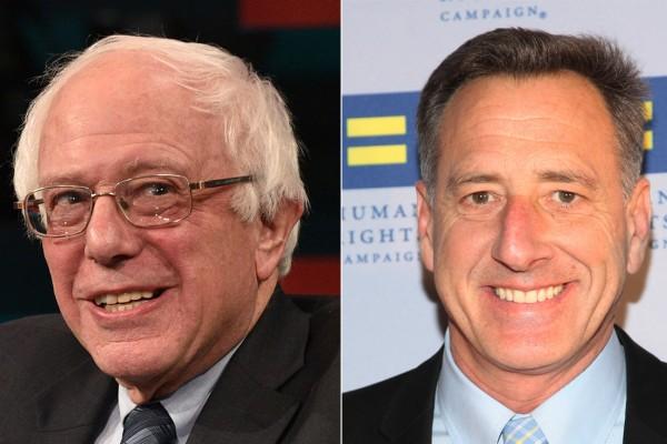 民主党总统候选人桑德斯(左)与佛蒙特州州长Peter Shumlin(右)向神韵致贺。(Joe Raedle and Taylor Hill/Getty Images)