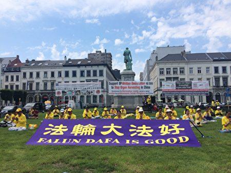 6月22日和23日在比利时布鲁塞尔的欧洲议会全体会议之时,来自欧洲多个国家的部分法轮功学员们聚齐在欧洲议会大楼前的草坪上举行活动,呼吁欧洲议会议员们支持调查活摘器官的欧洲议会书面声明。(启心/大纪元)