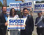 纽约州第三国会众议员选区国会议员参选人Tom Suozzi(左一),获得纽约州众议员金兑锡(Ron Kim,右二)等民意代表的支持,左二为华裔高中生Stephanie Tan。 (陈晓天/大纪元)