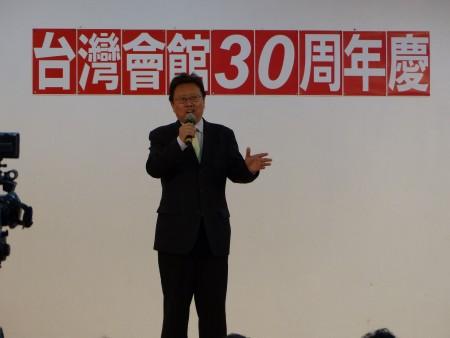 政论家陈破空在台湾会馆30周年庆上演讲。(林丹/大纪元)