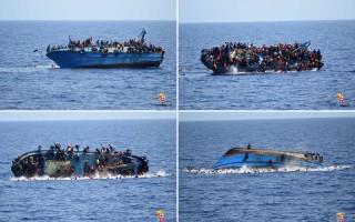 2016年5月25日,1艘滿載難民的偷渡船翻覆。(STR/AFP)