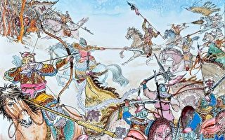 唐太宗缚著窦建德到东都洛阳城下,王世充看到窦建德被俘,遂率官兵请降。(绘图:曹醉梦/大纪元)