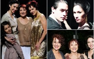 四代探戈舞星(左)演繹一代舞王舞后的情緣。圖右上為劇照,右下為飾演三代舞后的主演合影。(海鵬,視頻節圖/大紀元合成)