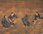 四仙拱寿图,现藏于国立故宫博物院。画中拾得踏着帚,寒山踏着蕉叶,李铁拐踏着拐杖,刘海蟾骑着三足金蟾,骑着鹤是寿星。(明代商喜绘/公有领域)