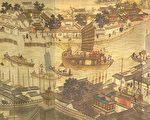 《潞河督運圖》(局部)描繪了漕運的繁忙景象(公有領域)