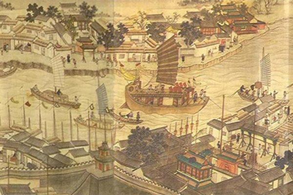 《潞河督运图》(局部)描绘了漕运的繁忙景象(公有领域)