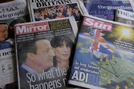 英國脫歐公投24日決定選擇與歐盟其他27成員國分手,歐洲議會28日呼籲英國立即啟動退出歐洲聯盟的程序。(中央社檔案照片/共同社提供)