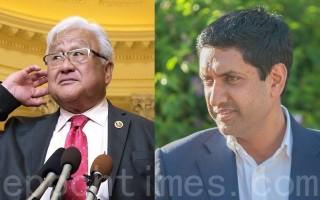 第17区现任国会众议员迈克‧本田(左)和第17区挑战者罗‧卡纳(右)。(大纪元合成图片)