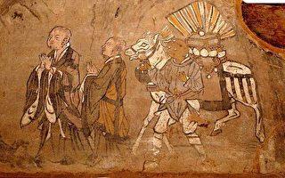 敦煌壁画中的玄奘取经图。(公有领域)