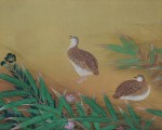 """林玉山 1935双鹑图 41×71cm(艺术家提供) 从这幅一九三五年画的双钩填彩""""双鹑图"""",可以见出林氏对宋院派画法用功之精。(中华文化总会提供)"""