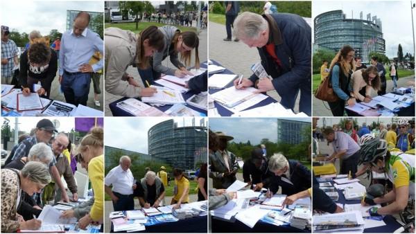 6月7日到9日,在欧洲议会期间,欧洲各国人士签字反对中共活体摘取法轮功学员器官(明慧网)