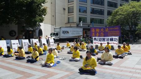 西雅圖法輪功學員在世界反酷刑日上演示功法。(舜華/大紀元)