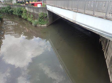 污染查缉后,塔寮坑溪(右)、潭底沟溪(左)汇流情形。(环保署提供)