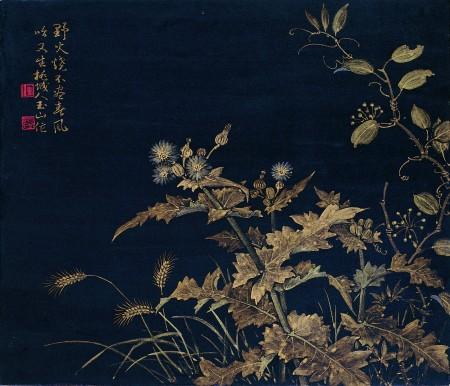 林玉山 1984《春草》 紙、泥金, 43.2×52(中華文化總會提供)