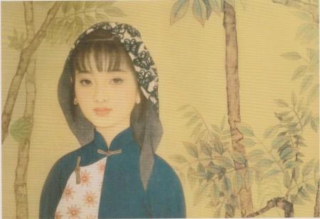 赵国经、王美芳的画作《树苗儿》的局部。白底蓝蝶头巾、靛蓝衣裳衬托著江南少女的清纯秀气。(网络图片)