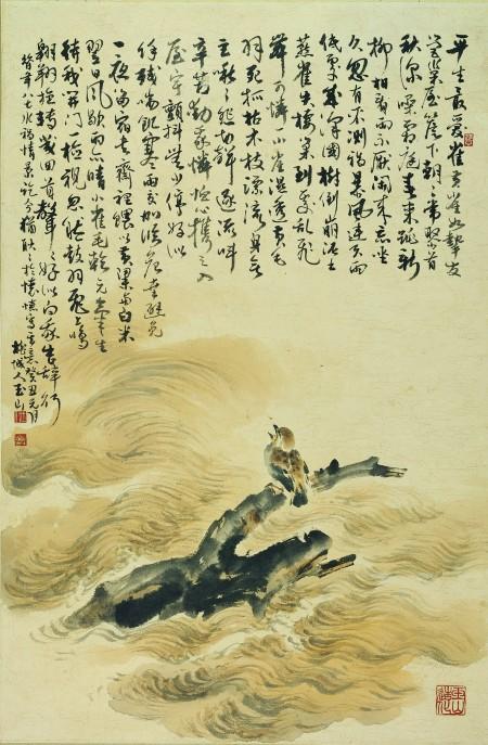 《愛雀吟》66x110cm,1964,髮紙 (劉墉提供)。劉墉提及林玉山先生「看到颱風豪雨中落難的小麻雀,不但冒著風雨,用竹竿撈雀入室,更作成兩百多字的《愛雀吟》長詩及圖畫。」(中華文化總會提供)