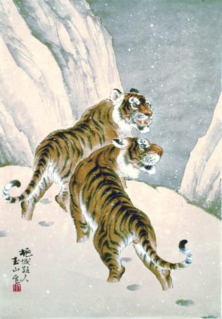 《雪山雙虎》66X46cm,紙本水墨設色 1975(劉墉提供)。劉墉:「林氏獨步國內畫壇的龍虎作品中,看到禪林水墨的意趣和深厚的寫生功夫。」(中華文化總會提供)