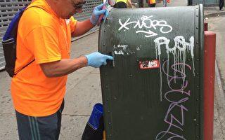 「認領街區」活動中,義工在清潔法拉盛羅斯福大道郵筒上的塗鴉。 (大法拉盛商會提供)