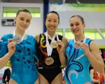 在2014年加拿大體操精英賽上,余穎然獲得1金、1銀、1銅3枚獎牌。(余穎然提供)