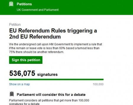 """英国民众不满脱欧公投的结果,在下议院网站发起""""第二次公投""""的联署请愿。(英国政府官网截图)"""