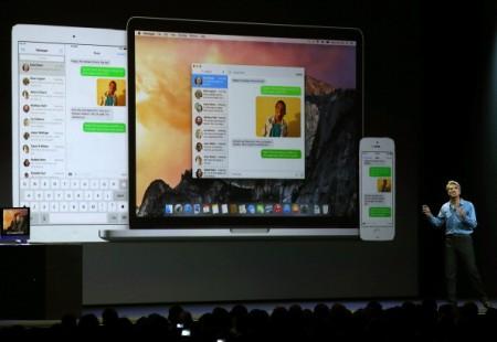 苹果公司在本周的年度全球开发者大会上宣布iMessages功能将加入操作系统iOS 10和MacOS sierra 中去。 (Justin Sullivan/Getty Images)
