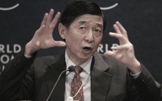 2005年1月26日吴建民在瑞士世界经济论坛讲话。 (PIERRE VERDY/AFP/Getty Images)