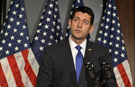 美国众院议长瑞安6月22日公布了由众院共和党拟定的新健保计划。(MIKE THEILER/AFP/Getty Images)