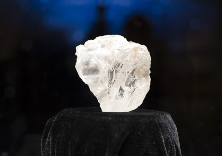 The 1,109-carat LESEDI LA RONA diamond is displayed May 4, 2016 at Sotheby's in New York. The rough diamond, uncovered in Botswana, southern Africa, last year estimated to be three billion years old, will be offered in a stand-alone auction in London on June 29, 2016, estimated to sell for in excess of $70 million USD. / AFP / DON EMMERT (Photo credit should read DON EMMERT/AFP/Getty Images)