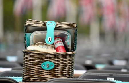 "LONDON, ENGLAND - JUNE 12: A picnic hamper is seen during ""The Patron's Lunch"" celebrations for The Queen's 90th birthday at The Mall on June 12, 2016 in London, England. (Photo by Eamonn M. McCormack/Getty Images/ The Patron's Lunch)"