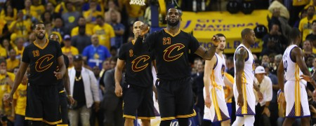 OAKLAND, CA - JUNE 19:  LeBron James #23 of the Cleveland Cavaliers reacts during the second half against the Golden State Warriors in Game 7 of the 2016 NBA Finals at ORACLE Arena on June 19, 2016 in Oakland, California. NOTE TO USER: User expressly acknowledges and agrees that, by downloading and or using this photograph, User is consenting to the terms and conditions of the Getty Images License Agreement.  (Photo by Ezra Shaw/Getty Images)