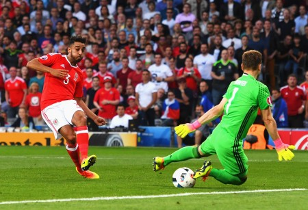TOULOUSE, FRANCE - JUNE 20: Neil Taylor of Wales scores his team's second goal past Igor Akinfeev of Russia during the UEFA EURO 2016 Group B match between Russia and Wales at Stadium Municipal on June 20, 2016 in Toulouse, France. (Photo by Stu Forster/Getty Images)