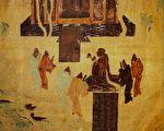 敦煌莫高窟内汉武帝拜佛像的壁画。(公有领域)
