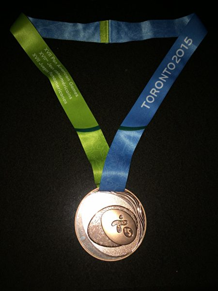 舒之颢最得意的奖牌.——2015加拿大泛美锦标赛铜牌。(舒之颢提供)