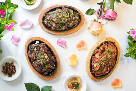 週年慶期間,午餐享用冷面的客人,可特價享用三種美味烤肉。(Benjamin Chasteen/大紀元)