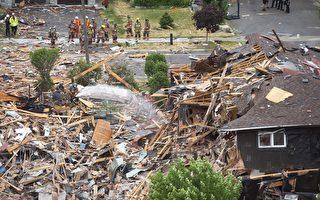6月28日下午4時20左右,安省密西沙加市居居區發生大爆炸,一棟民宅夷為平地。(加通社)