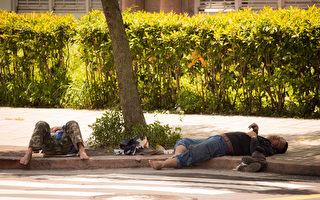 台灣夏天氣溫常高達38度上下,戶外活動需注意防止中暑。圖為工人在樹蔭下休憩。(陳柏州/大紀元)