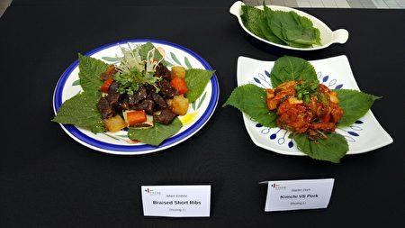 获得洛杉矶韩国美食飨宴比赛亚军,来自上海的Shuting Li小姐带来泡菜炒猪肉和烤小排。(苏湘岚/大纪元)