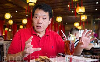 中國民運人士、美國民主大學校長唐柏橋近日接受《大紀元》獨家專訪,談到前兩次來台,與這次訪問的差異。(陳柏州/大紀元)