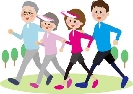 家庭一起做运动,走路。