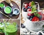 减肥、特别是瘦小腹对健康很重要。抹茶、奇异子和绿叶蔬菜都是具有燃烧腹部脂肪功效的食品。(Shutterstock、Epoch Times/大纪元合成)