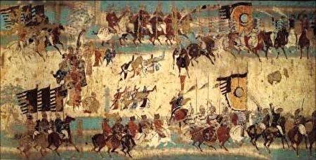 敦煌莫高窟217窟壁画《破阵乐舞势图》。(公有领域)