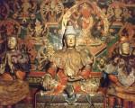 松赞干布(中)、文成公主(右)与尺尊公主(左)的塑像。(维基百科公共领域)