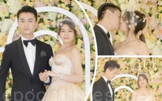 陳妍希歸寧宴於7月18日在台北舉行。圖為陳妍希與夫婿陳曉在婚宴現場曬甜蜜。(黃宗茂/大紀元合成)