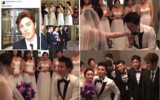 棒棒堂成员阿纬今(22)日在台北迎娶女友,好友吴克群身兼伴郎与婚礼歌手,在脸书开直播。(吴克群脸书/大纪元合成)