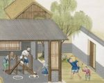 耶穌會教士蔣友仁將中國的造紙技術畫成圖寄回巴黎,此圖為搗碎竹材。(公有領域)