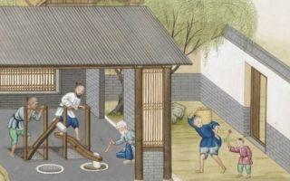 耶稣会教士蒋友仁将中国的造纸技术画成图寄回巴黎,此图为捣碎竹材。(公有领域)