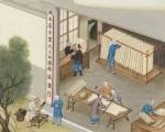 耶穌會教士蔣友仁將中國的造紙技術畫成圖寄回巴黎,此圖為掛晾。(公有領域)